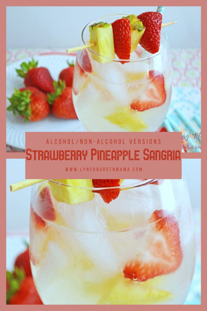 Summer is here and you need a Strawberry Pineapple Sangria! These are light, refreshing, and perfect for sitting on the patio. Try the alcohol-free version, too.