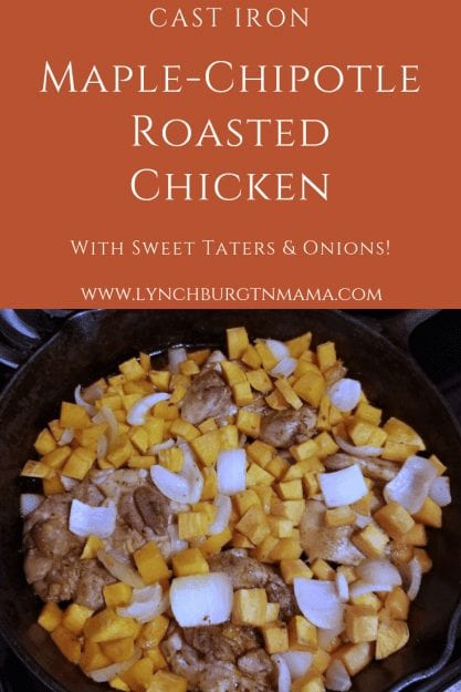 Your family is going to love this sweet and savory Cast Iron Maple-Chipotle Roasted Chicken with Sweet Taters & Onions!