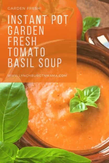 This Instant Pot® Garden Fresh Tomato Basil Soup will warm you right up and is perfect with a grilled cheese!