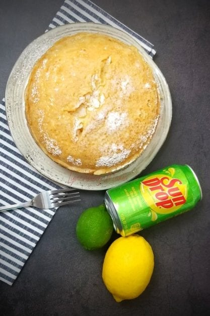 Uncut Instant Pot Sun Drop Cake on Plate