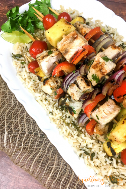 Swordfish & Pineapple Kabobs with Cilantro-Lime Rice