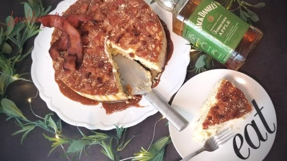 Cut Slice of the Lynchburg Mama Bacon Tennessee Apple Whiskey Cheesecake
