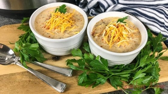 Two bowls of Instant Pot Cheeseburger Soup