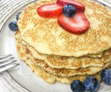 Cream Cheese Berry Pancakes without Powdered Sugar or Monk Fruit