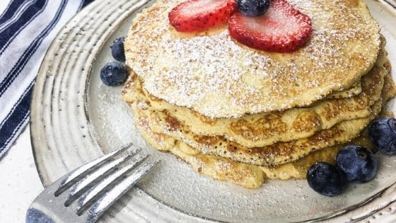 Cream Cheese Berry Pancakes with Powdered Monk Fruit or Sugar