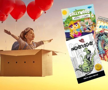 Little girl flying in a box with balloons symbolizes how children can follow their dreams