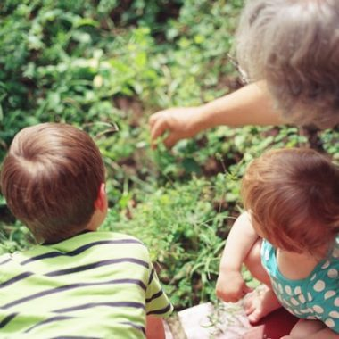 Two kids bond with their grandparents