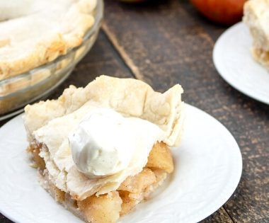 Slice of Apple Pie topped with No Churn Vanilla Ice Cream