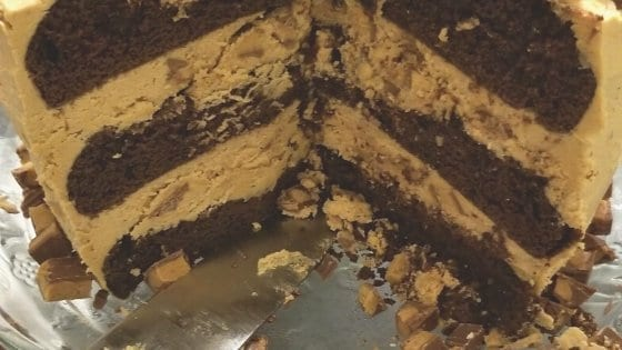 Interior of Chocolate Cake with Ultimate Peanut Butter Frosting