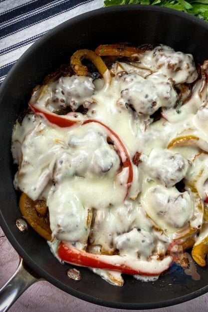 One-Skillet Cheesy Sausage and Peppers