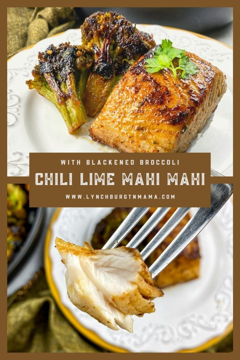 In less than 30 minutes, enjoy a flavorful Chili Lime Mahi-Mahi with Blackened Broccoli. It's an easy weeknight meal!