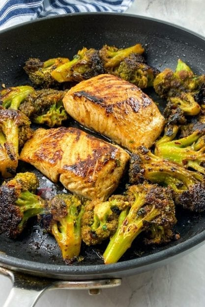Chili Lime Mahi-Mahi in a skillet with blackened broccoli is an easy weeknight meal!