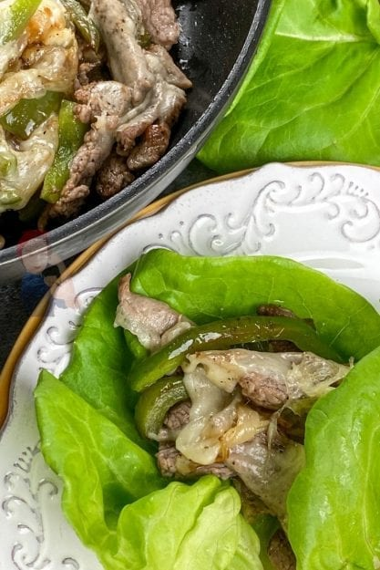 Building the easy cheesesteak lettuce wraps