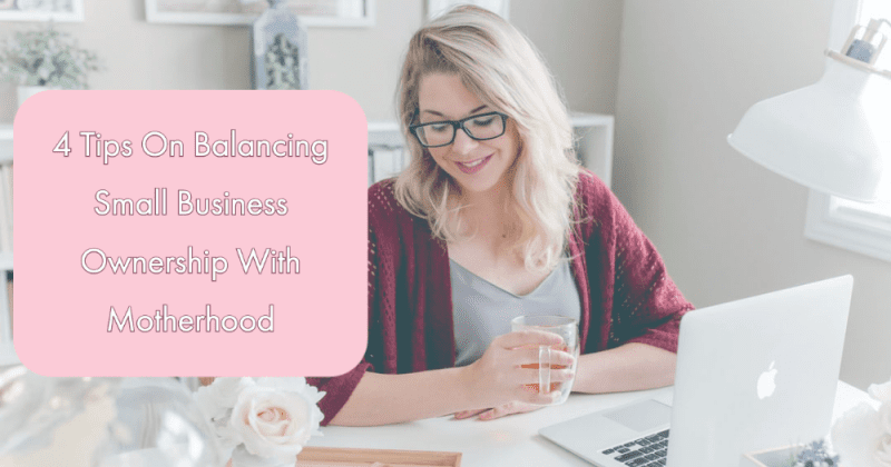 Woman working at a computer with a cup of coffee balancing small business ownership with motherhood