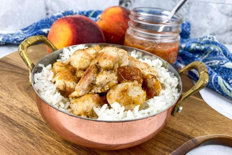 Pre-made peach sauce will enable you to put this chicken and rice dinner on the table in less than 20 minutes!