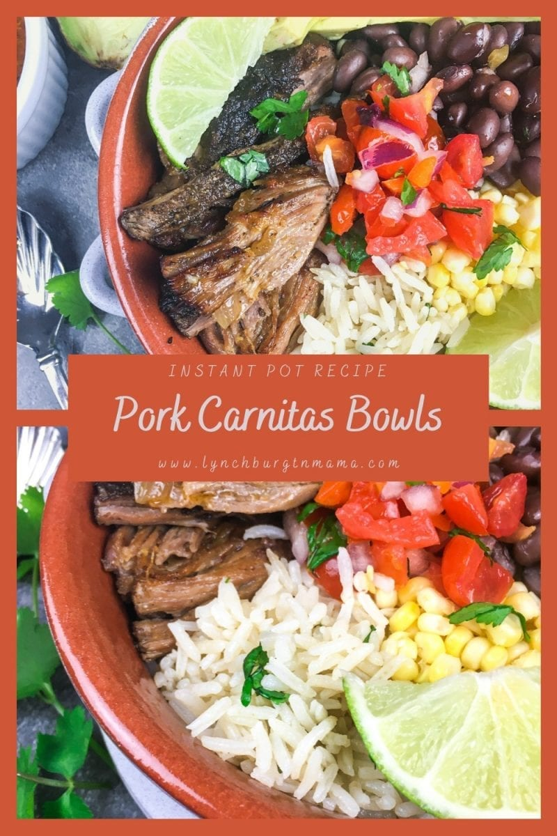 Enjoy juicy, flavorful Instant Pot Pork Carnitas Bowls this week! Ready in less than two hours.