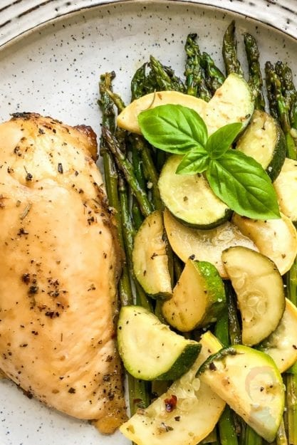 Marinated Chicken Breasts, Asparagus, Zucchini, and Squash
