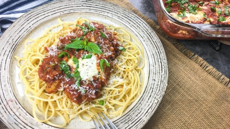Chicken Parmesan with Spaghetti on Dinner Plate