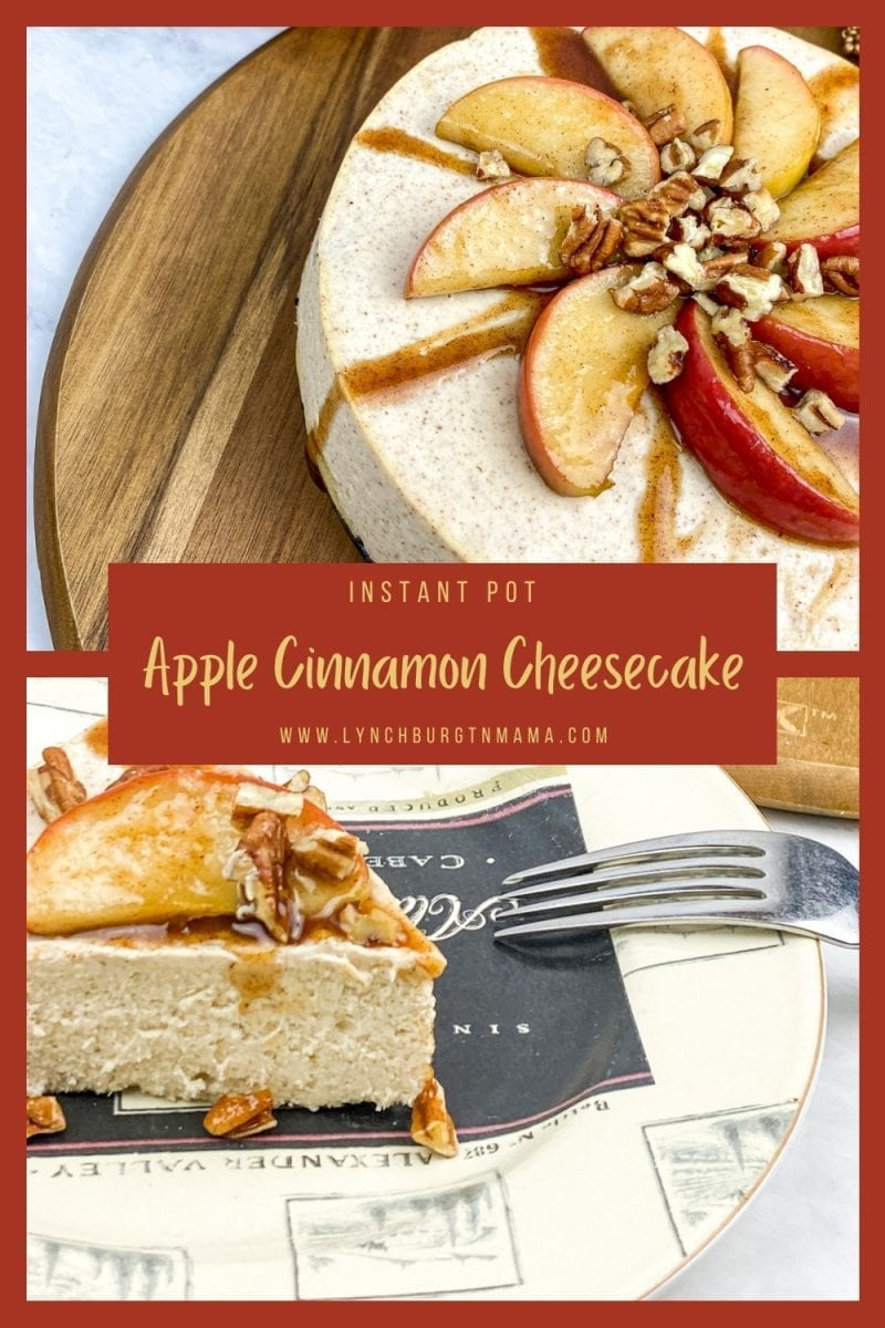 Enjoy an Instant Pot Apple Cinnamon Cheesecake that's full of flavor and creamy texture! Top with fresh apples and pecans for a textured dessert!
