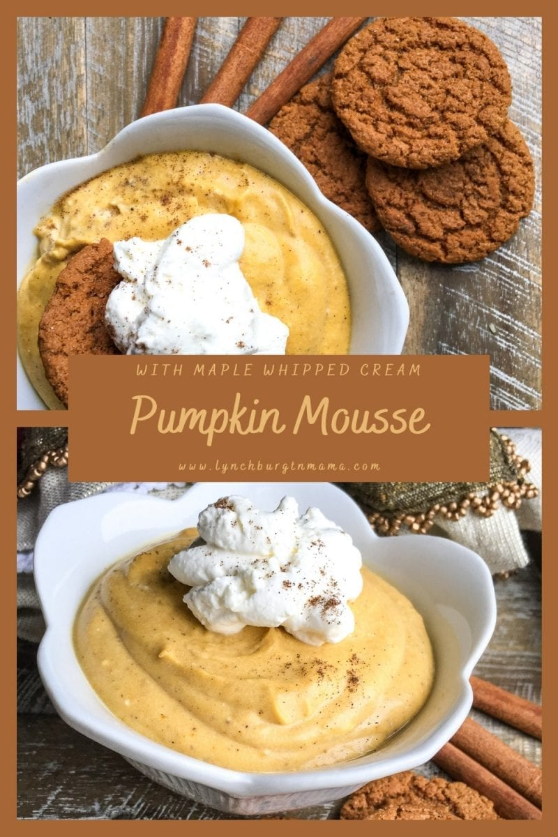 Enjoy a light, creamy Pumpkin Mousse topped with maple whipped cream. Serve with ginger snap cookies or solo for gluten-free diets!