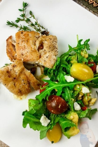 Seared Grouper with Lemon-Thyme Butter Sauce and a colorful arugula salad