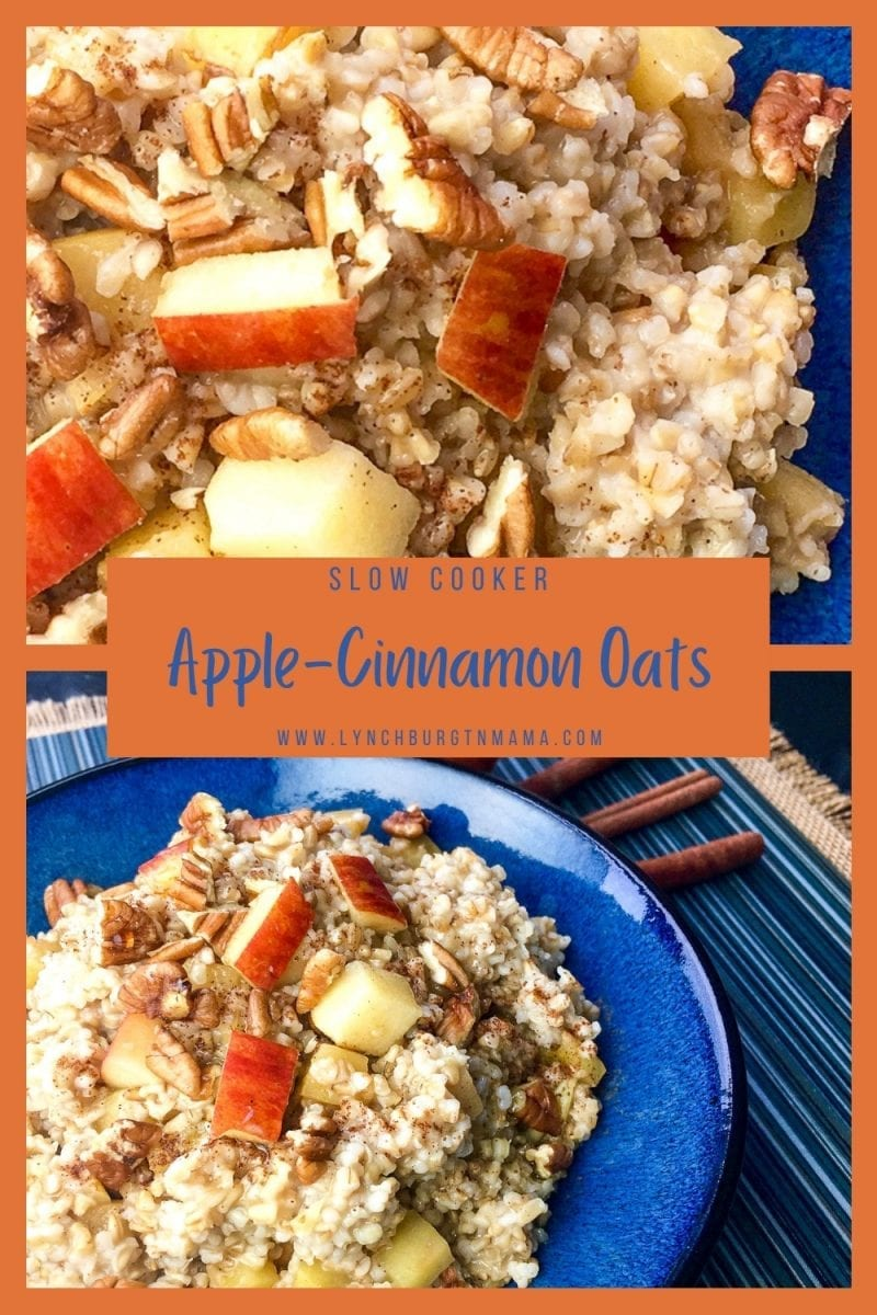 Apple-Cinnamon Oats prepared for breakfast in the slow cooker will change your mornings! Get ready for a tasty, delicious breakfast!