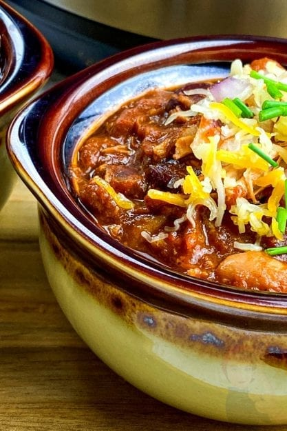 Up close view of IP Pulled Pork Chili in a bowl.