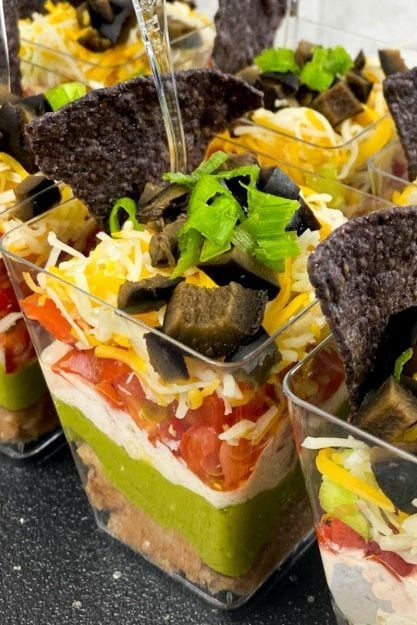 Close up view of appetizer cups