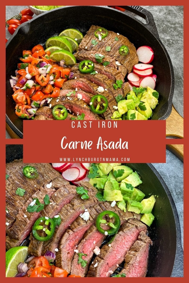 Bring one of the best Mexican-inspired dishes to your dinner table -- Cast Iron Carne Asada! Best when marinated overnight, this is a meal the entire family will enjoy!