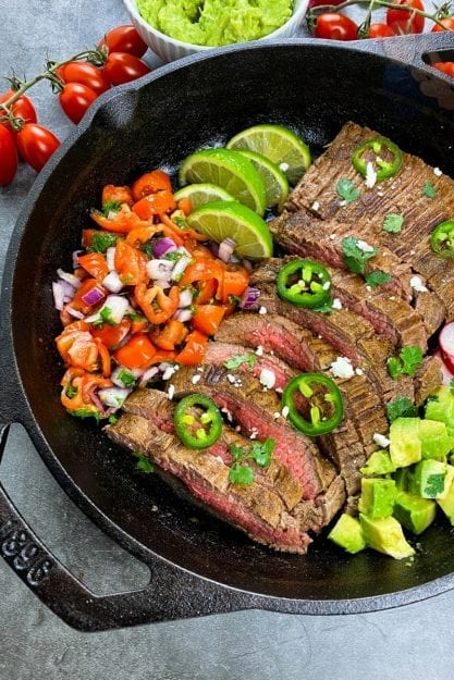 Completed cast iron carne asada