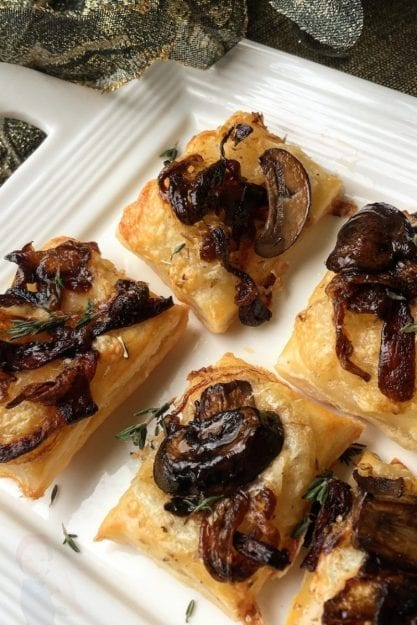 Caramelized onions and mushroom puff pastries