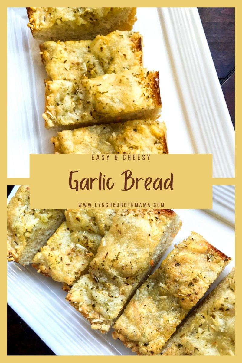This easy, cheesy garlic bread is the perfect accompaniment to hearty pasta dishes, such as lasagna, spaghetti and meatballs, or rigatoni with chunky meat sauce. It is also a great appetizer on its own when served with a spicy marina sauce for dipping.