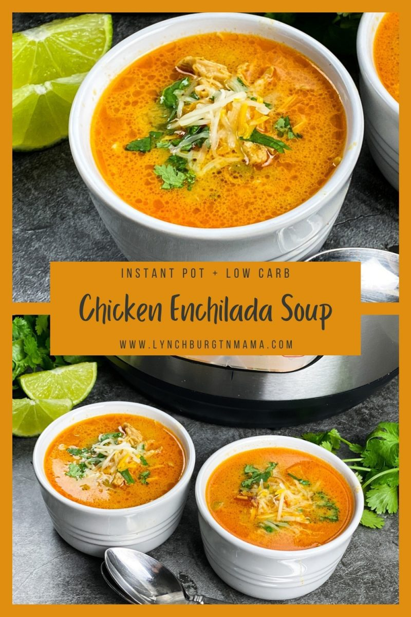 Low Carb Chicken Enchilada Soup is easy when you use the Instant Pot®! This recipe is low carb, healthy, and ready in about 45 minutes.