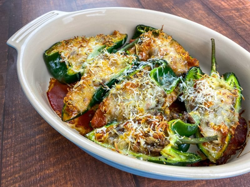 Pizza-Stuffed Poblano Peppers are a delicious and satisfying low-carb pizza alternative. Enjoy a classic pizza experience with all of the flavors of mushrooms, pepper, pepperoni, and cheese!