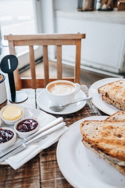 cup of latte and sliced breads showing delicious breakfast dishes