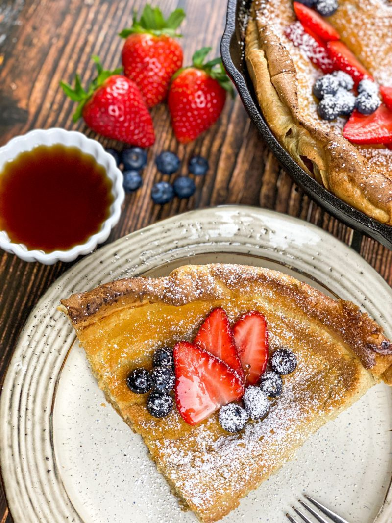 Dutch Baby Pancakes with fruit and maple syrup