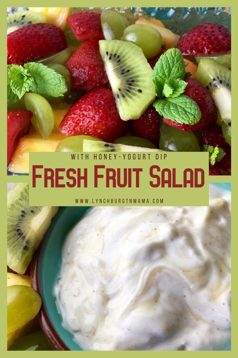 Fresh Fruit Salad is one of my favorite go-to snacks when I'm craving something sweet. I love mixing up a batch of honey-yogurt dip to go with it!