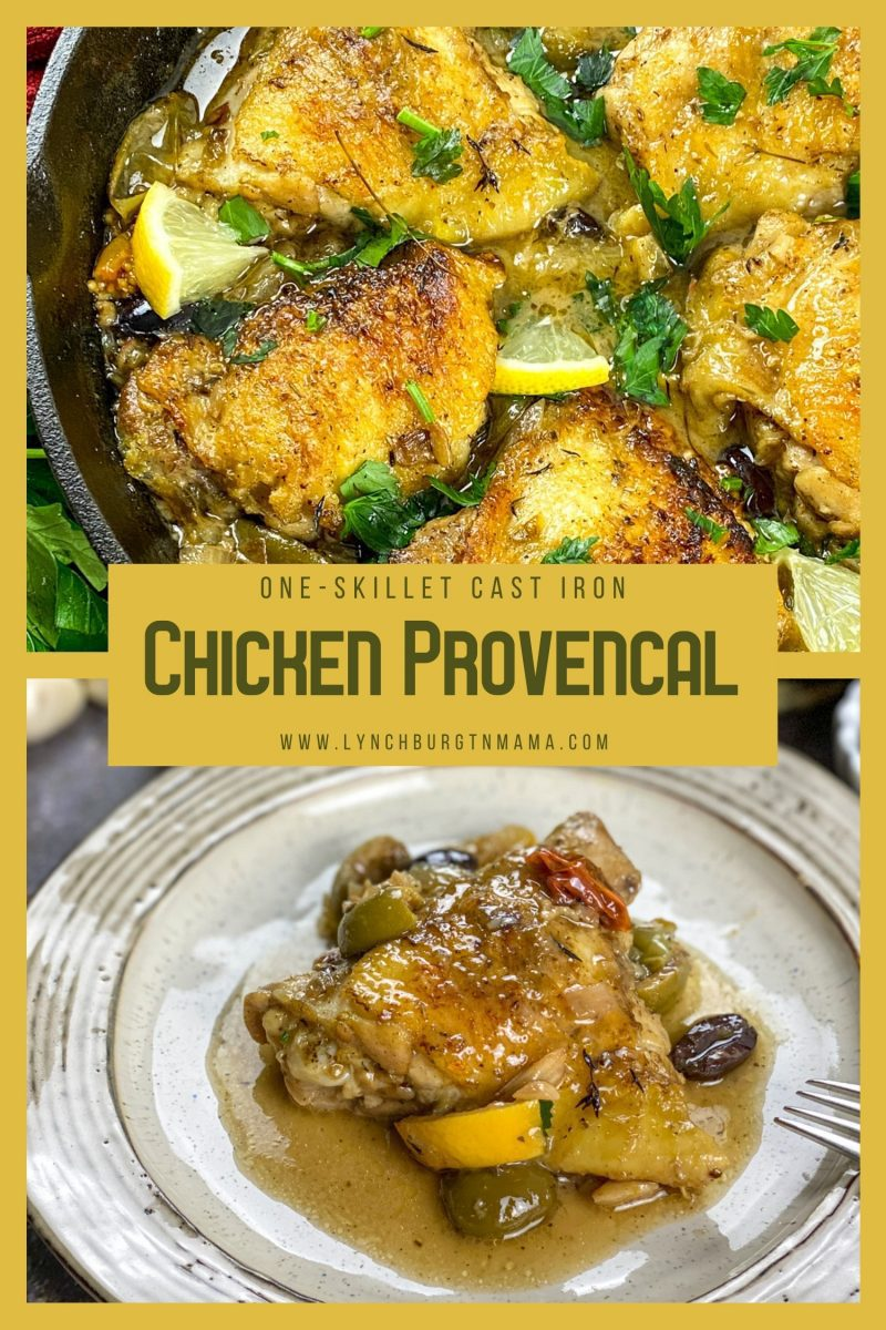 This Cast Iron Chicken Provencal is a flavorful dish derived from the Provence region of southeastern France. Including prep time, this herbaceous, flavor-packed dish is ready in an hour!