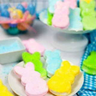 Homemade Marshmallow Peeps - Plate of four bunny shapes covered with colored sugars
