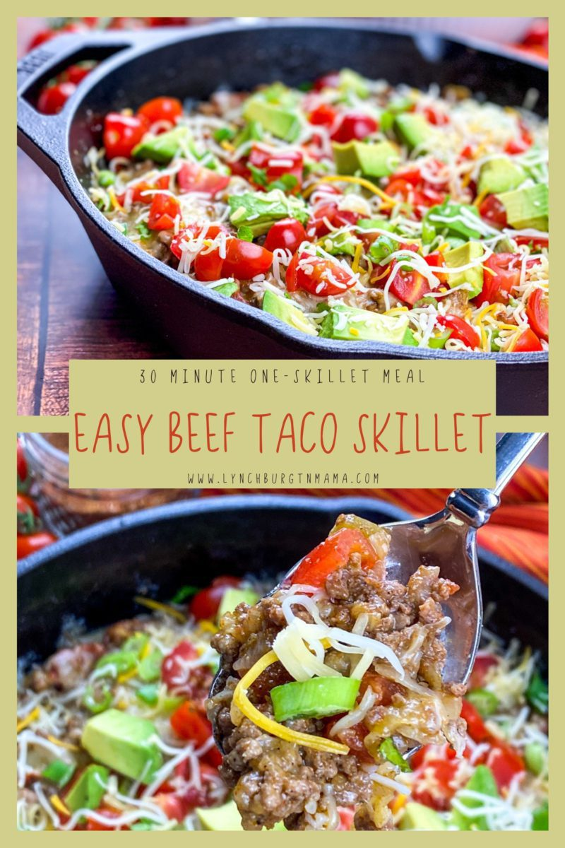 This versatile Easy Beef Taco Skillet meal is table-ready in 30 minutes! Serve as a main course or as a hearty appetizer!