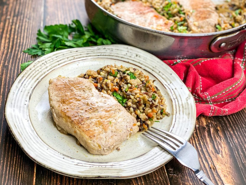Plated Pork Chops with Wild Rice Pilaf