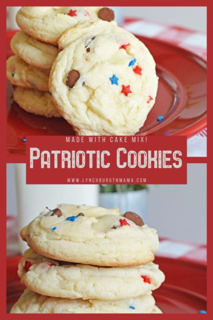 Patriotic Cake Mix Cookies are soft, chewy, and the perfect way to enjoy with a glass of milk. Celebrate the red, white, and blue any time of the year!