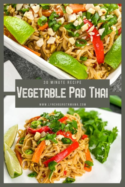 Vegetable Pad Thai is full of flavor, easily customized with your favorite veggies, and ready for the dinner table in about 30 minutes!