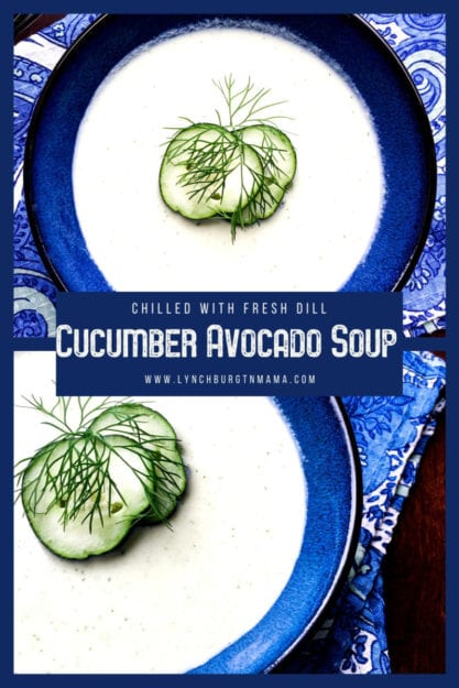Chilled Cucumber Avocado is going to be your go-to soup when it's way too hot to cook! Grab the fresh ingredients at your local farmers' market and enjoy with fresh dill.