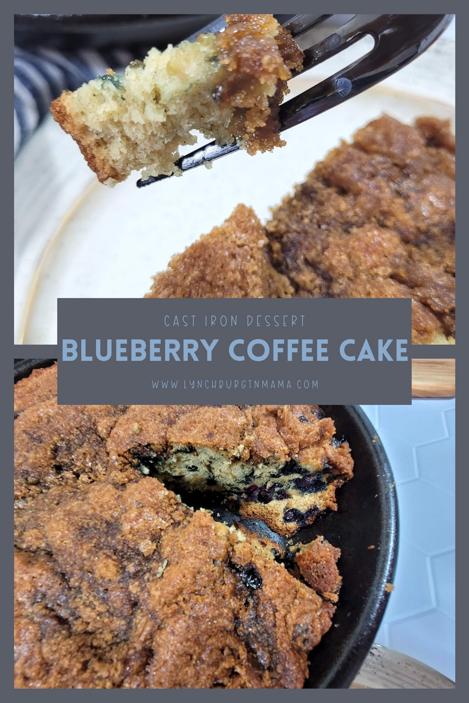 Cast Iron Blueberry Coffee Cake is a warm, comforting dessert that is ready to eat out of the oven. Top with ice cream for dessert or enjoy with your favorite beverage for breakfast.