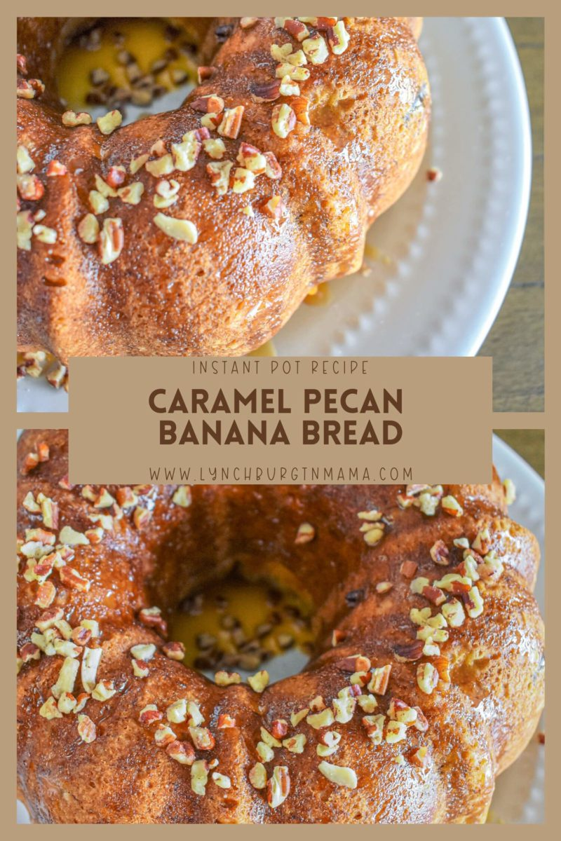 Instant Pot Caramel Pecan Banana Bread is a moist, delicious treat that will change your baking game! Enjoy for breakfast or as a dessert.a
