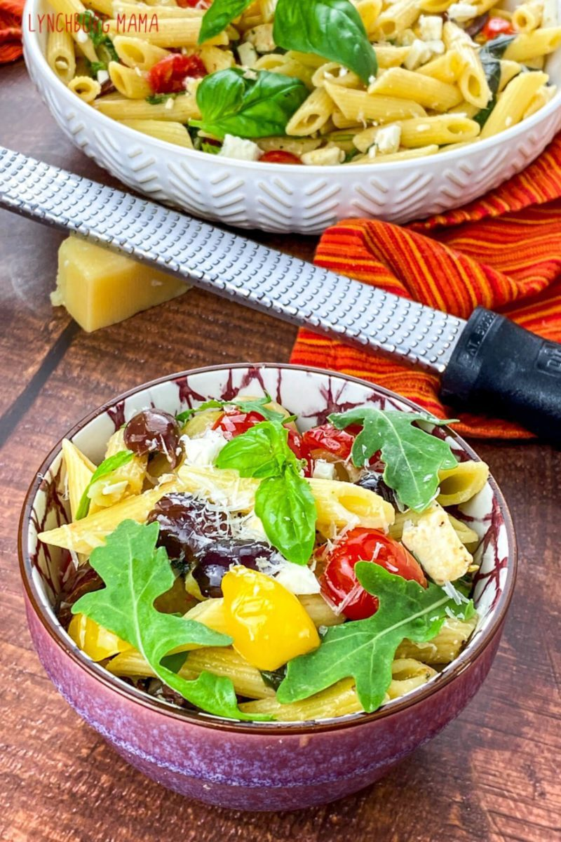 Mediterranean Pasta Salad makes an excellent side dish or can also be a main dish for a lighter meal. I love using this for meal prepping!