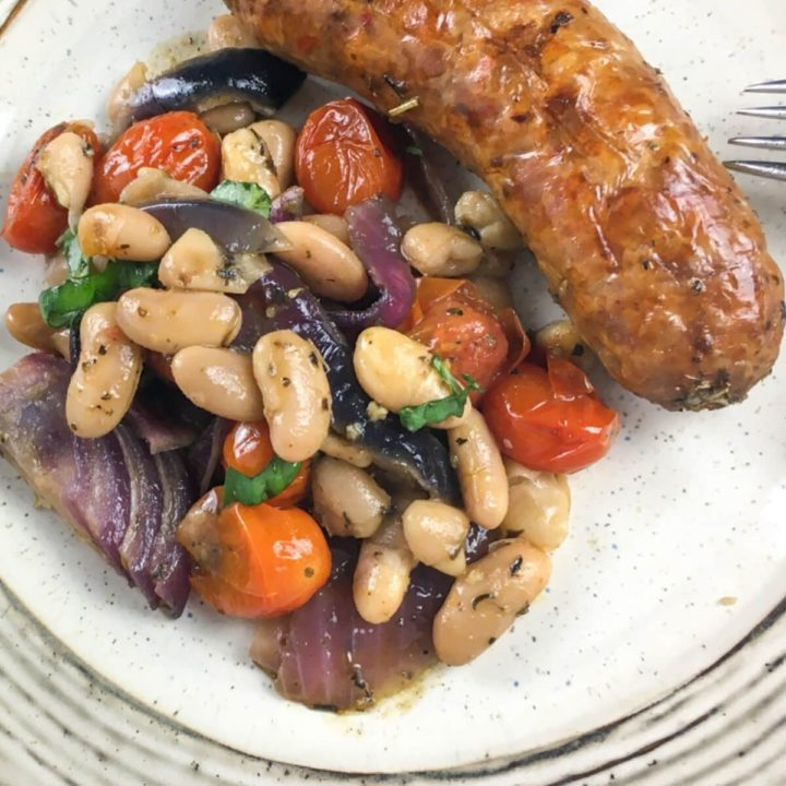 Roasted Italian Sausages with White Beans