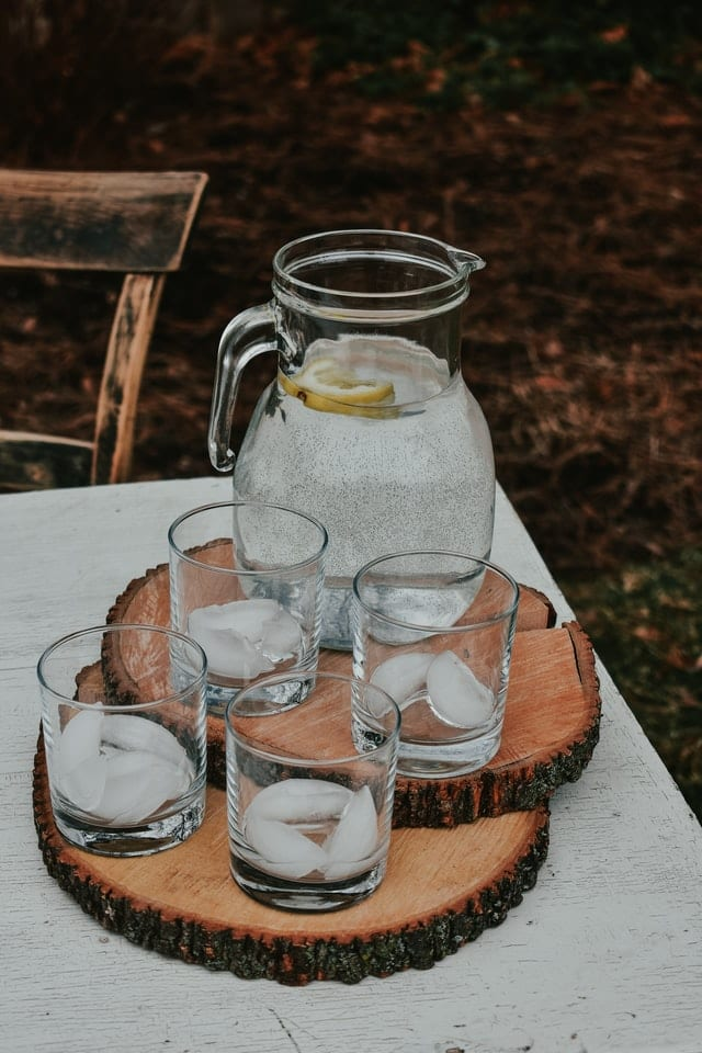 Drink glasses ready for a garden party