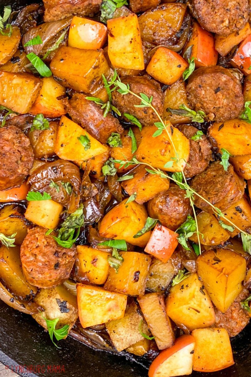 Up close view of Chorizo, Potatoes and Apples